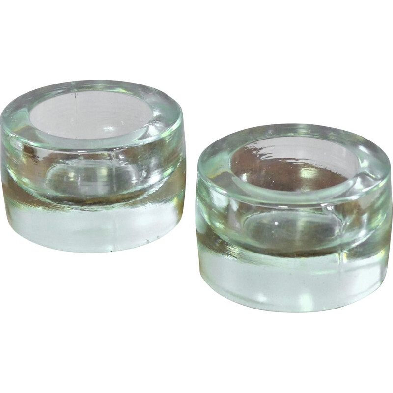 Pair of vintage round thick glass ashtrays by René Coulon for Novalux, 1937