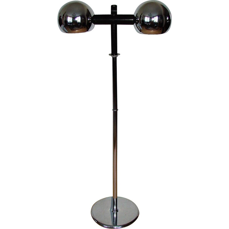 Space age chrome plated steel floor lamp, 1970s