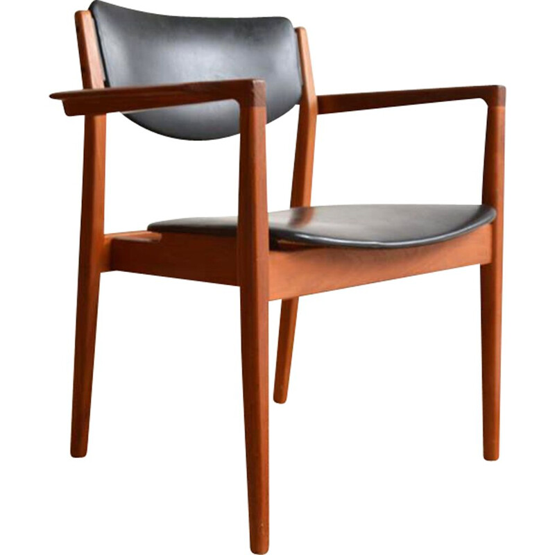 Vintage armchair number 196 in leather and teak by Finn Juhl for France & SØN, 1960