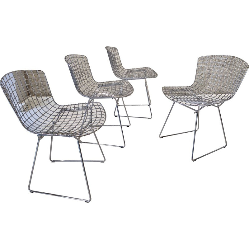 Set of 4 vintage chrome steel chairs by Harry Bertoia for Knoll, 1970s