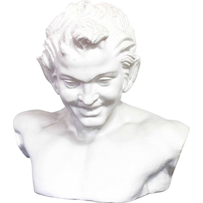 Vintage plaster bust of a satyr called Faun of Vienna