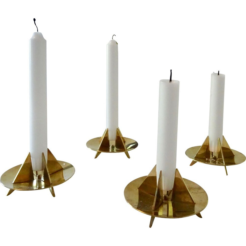 Set of 4 vintage sculptural candleholders N 20 by Pierre Forsell for Skultuna, 1960s
