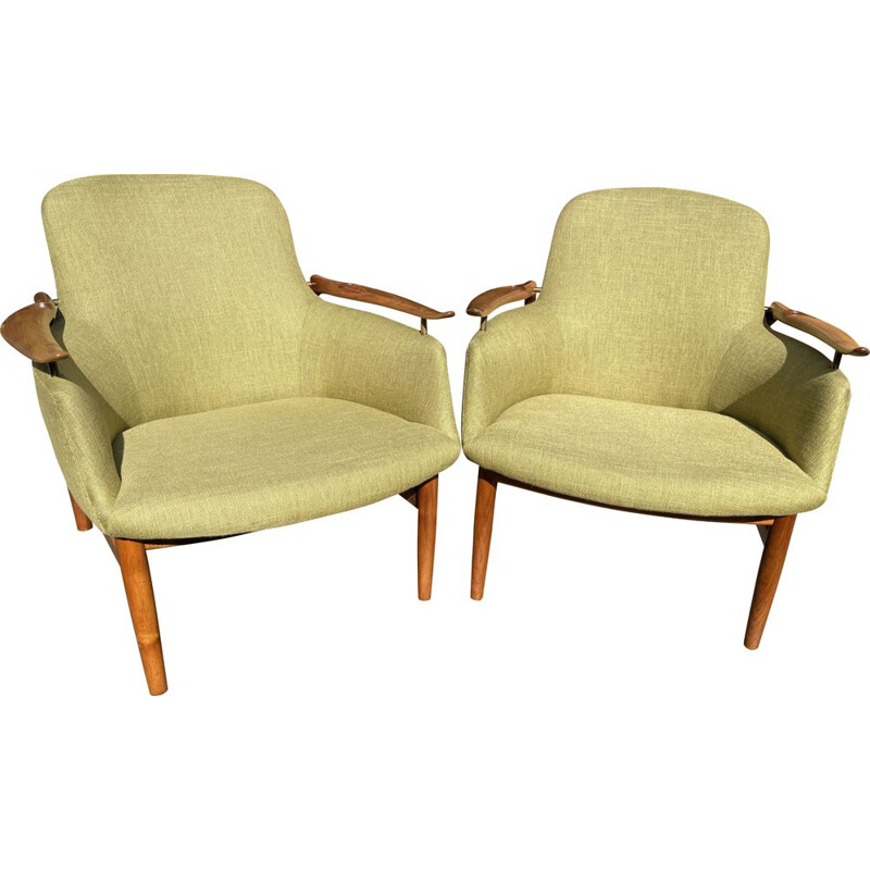 Pair of vintage NV53 lounge chairs by Finn Juhl for Niels Vodder