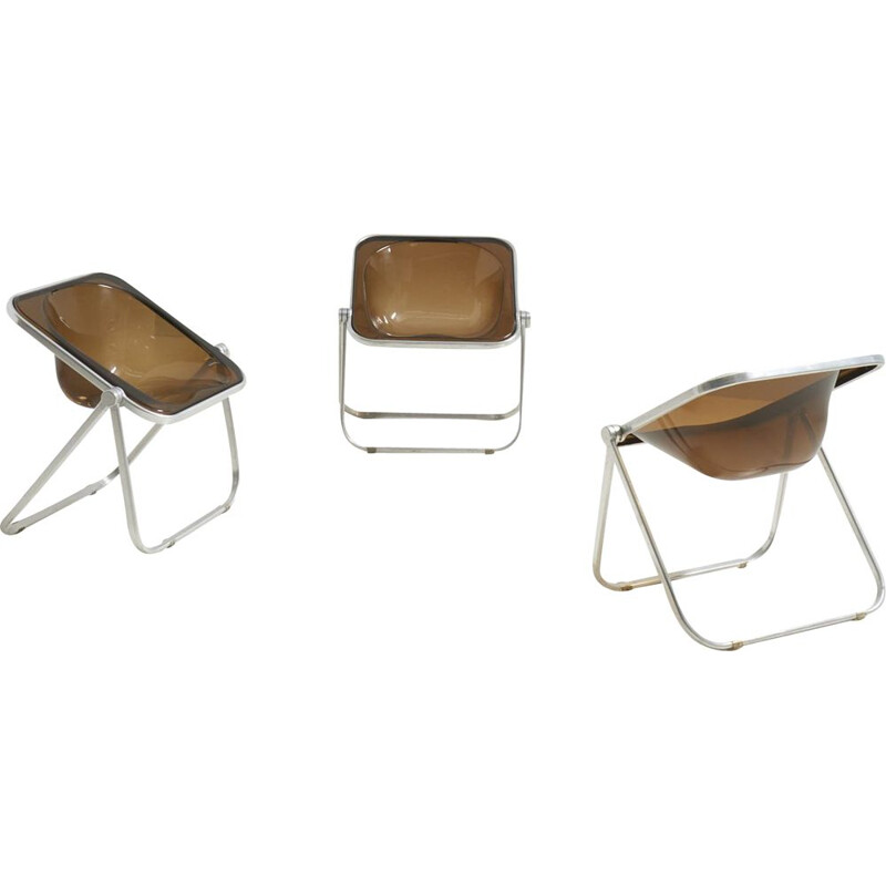 Set of 3 vintage 'Plona' chairs by Giancarlo Piretti for Castelli, Italy 1970s