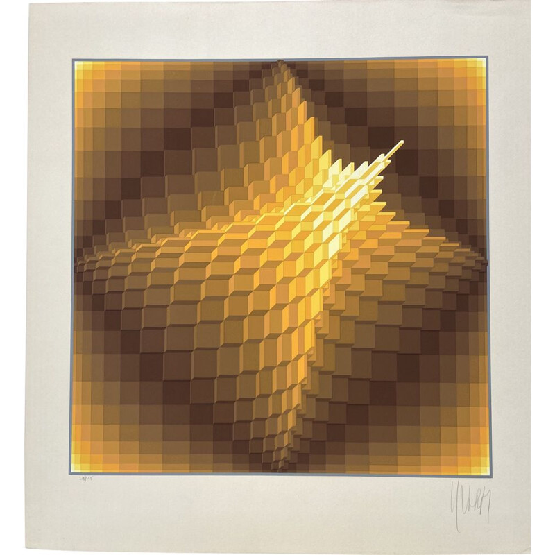 Vintage Pyramid lithograph by Yvaral dit Jean-Pierre Vasarely, 1974s