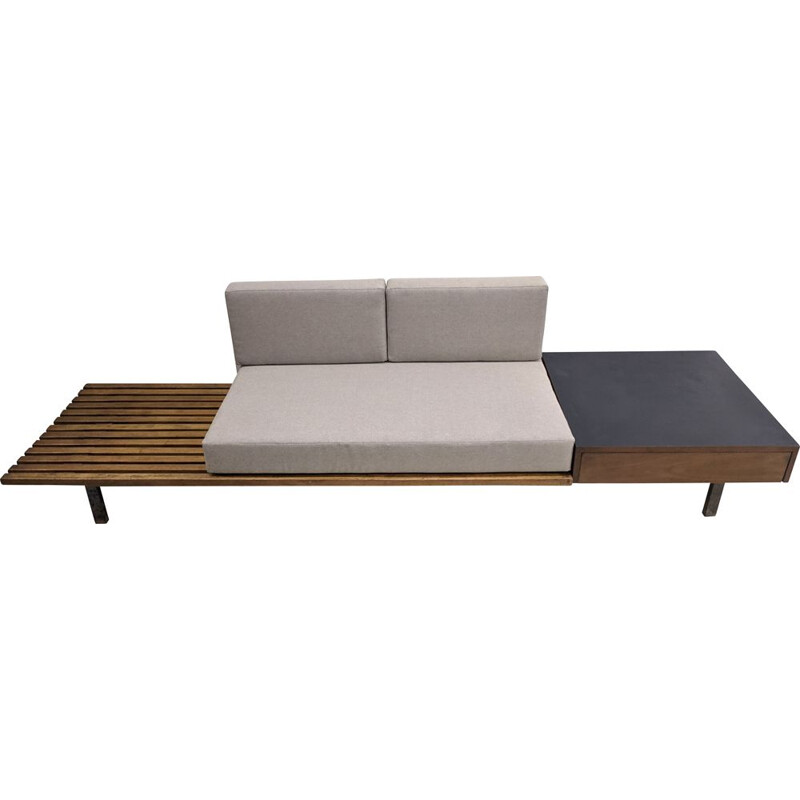 Vintage cansado bench with drawers by Charlotte Perriand, Africa 1954s