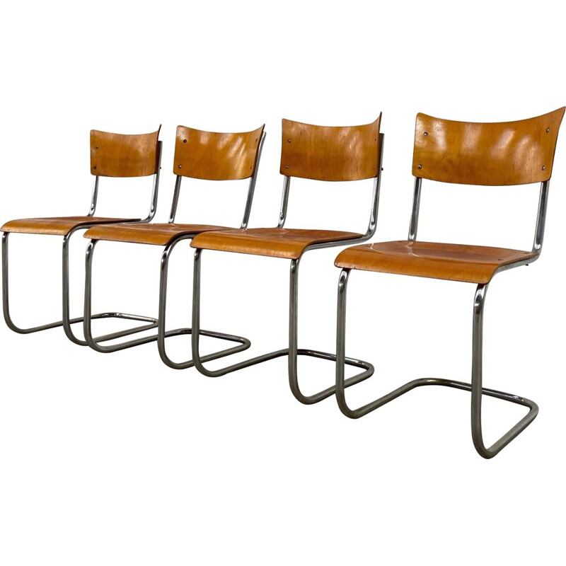 Set of 4 vintage tubular chairs by Mart Stam, 1930s
