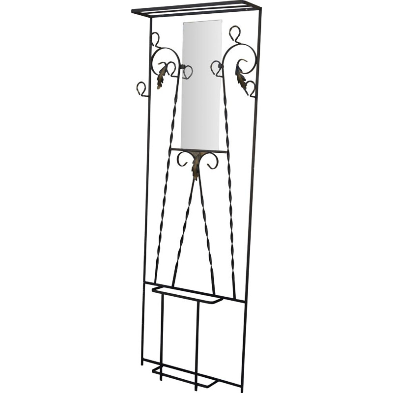 Vintage French coat rack in lacquered steel, 1940