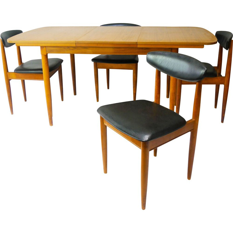 Mid-century extending dining table & 4 dining chairs by Schreiber, 1970s