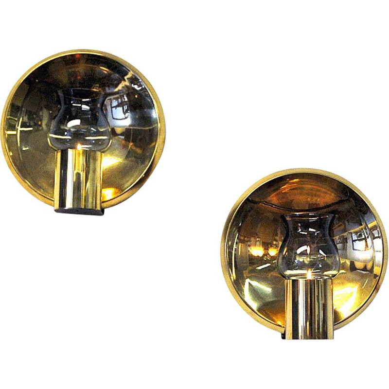 Norwegian pair of vintage brass wall candleholders by Colseth, 1960s