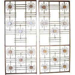 Pair of room divider in wood and bamboo - 1950s