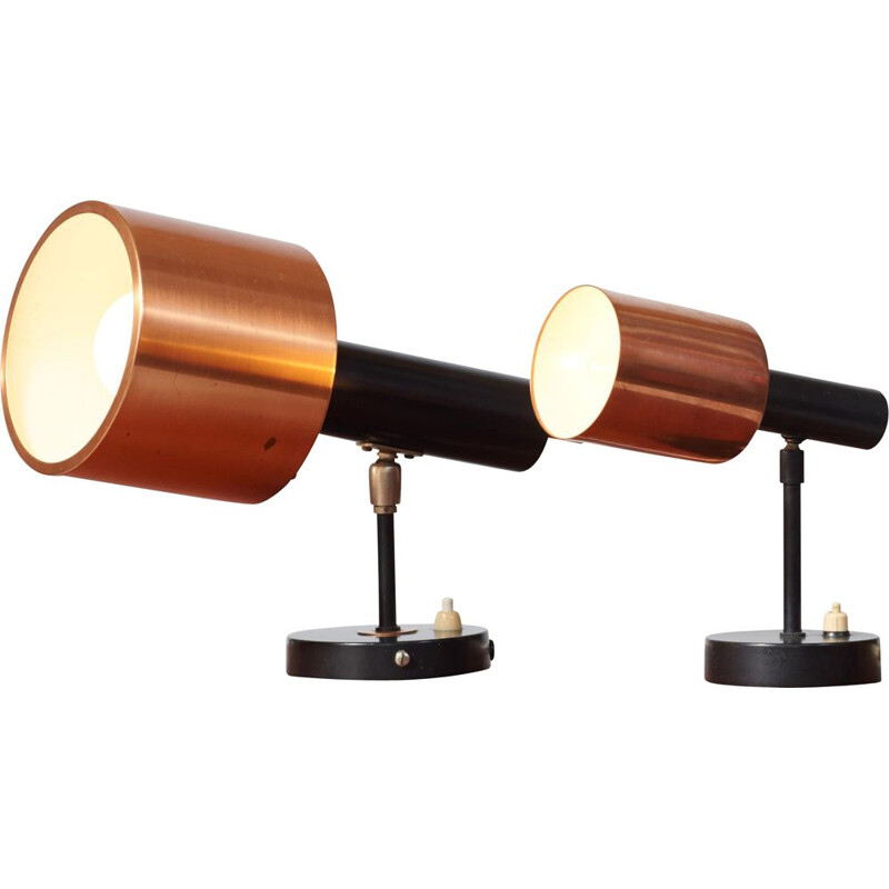 Pair of vintage wall lamps by Jo Hammerborg, 1960s