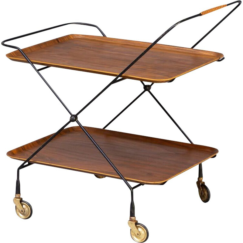 Vintage metal foldable serving trolley tray table for Åry Fanérprodukter Nybro, 1950s