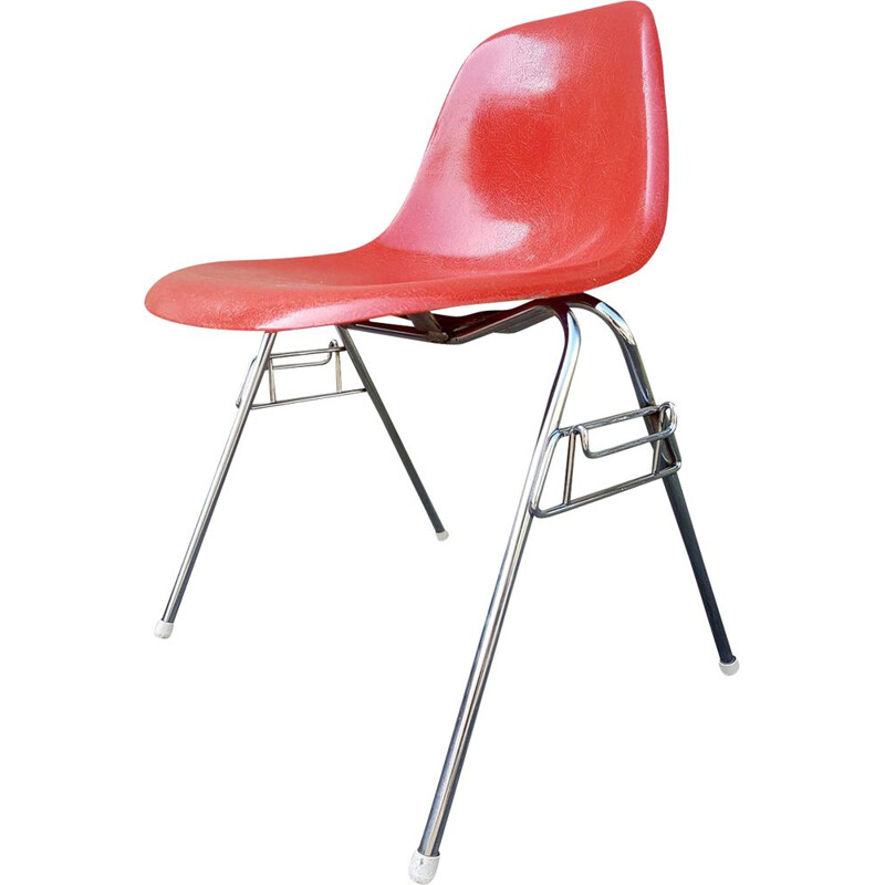 Vintage DSS orange chair by Charles and Ray Eames for Herman Miller, 1960s