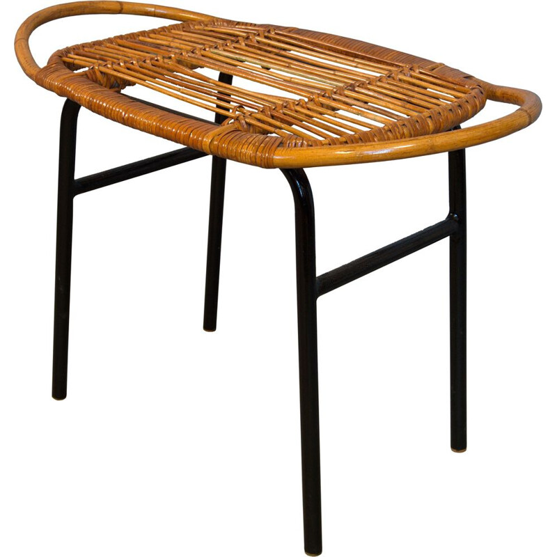 Mid-century rattan stool by Alan Fuchs for Experimental Housing Project Invalidovna, Prague 1961s