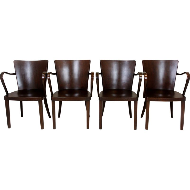 Set of 4 vintage bentwood B47 armhairs by Michael Thonet, 1930s