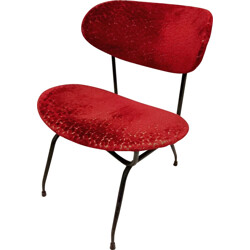 Burgundy red Arflex chair in black metal and velvet - 1950s