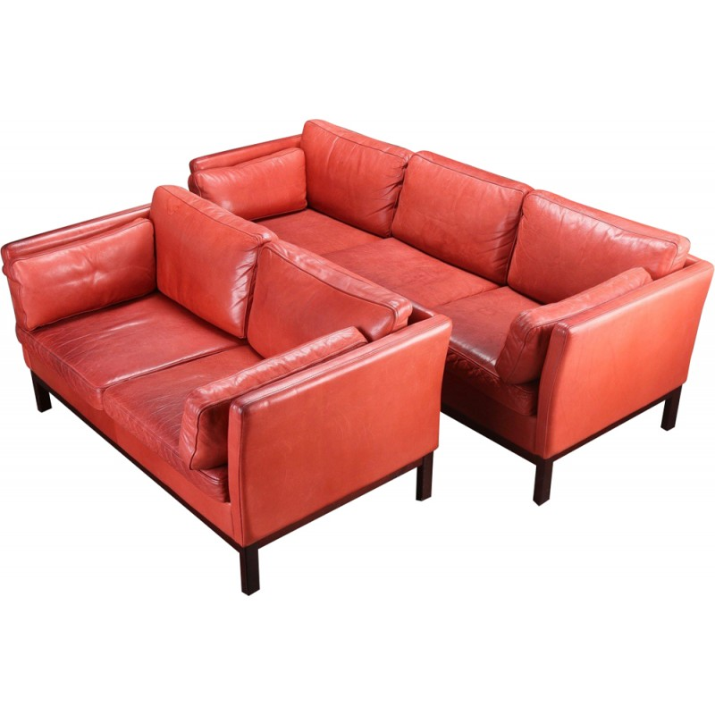Set Of Danish Sofas In Red Leather   1980s