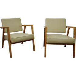 Pair of Knoll armchairs in beige leatherette and beech, Franco ALBINI - 1940s