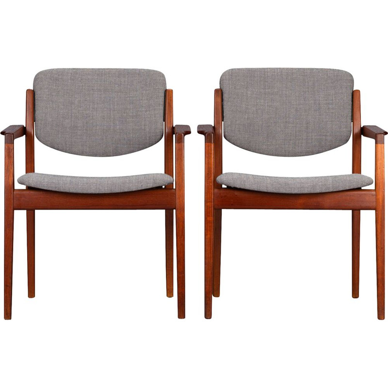 Set of 2 vintage Model 196 Armchairs by Finn Juhl for France and Son, 1960s
