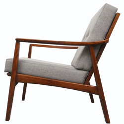 Armchair in wood and grey fabric - 1960s