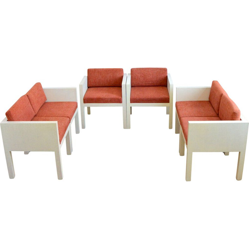 Set of 4 vintage cubic chairs, 1980