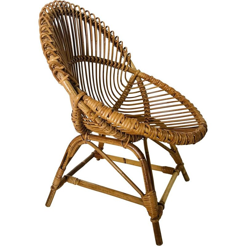 Vintage shell armchair in rattan by Franco Albini, Italy 1960