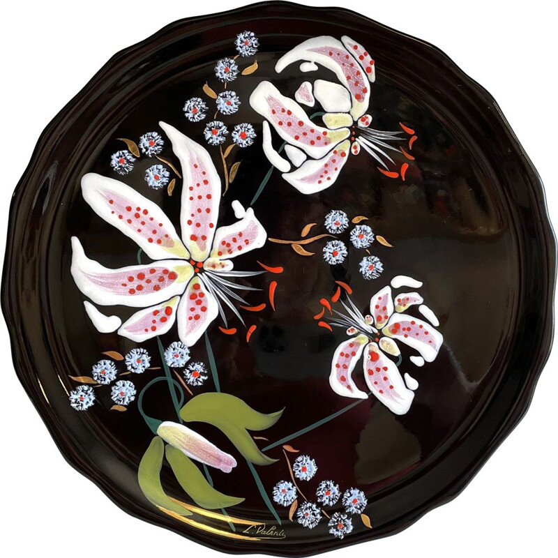 Vintage dish in Longwy earthenware with Lilies signed L.Valenti, France 1960s