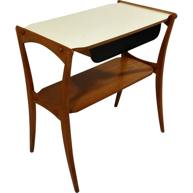 Mid-century teak side table with drawer, 1950s