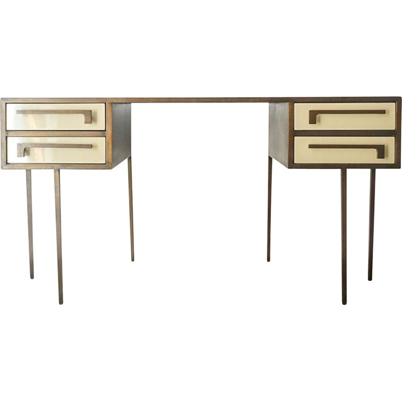 Mid-century custom made cartier brass and lacquered wood desk, 1970s