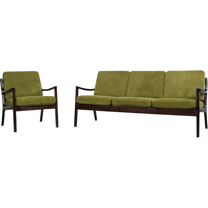 Vintage scandinavian 3-seater senator sofa and chair by Ole Wanscher for Cado, 1960s