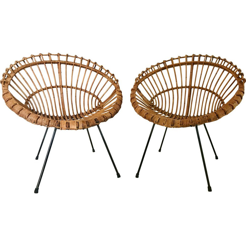 Pair of vintage rattan armchairs by Franco Albini, Italy 1960