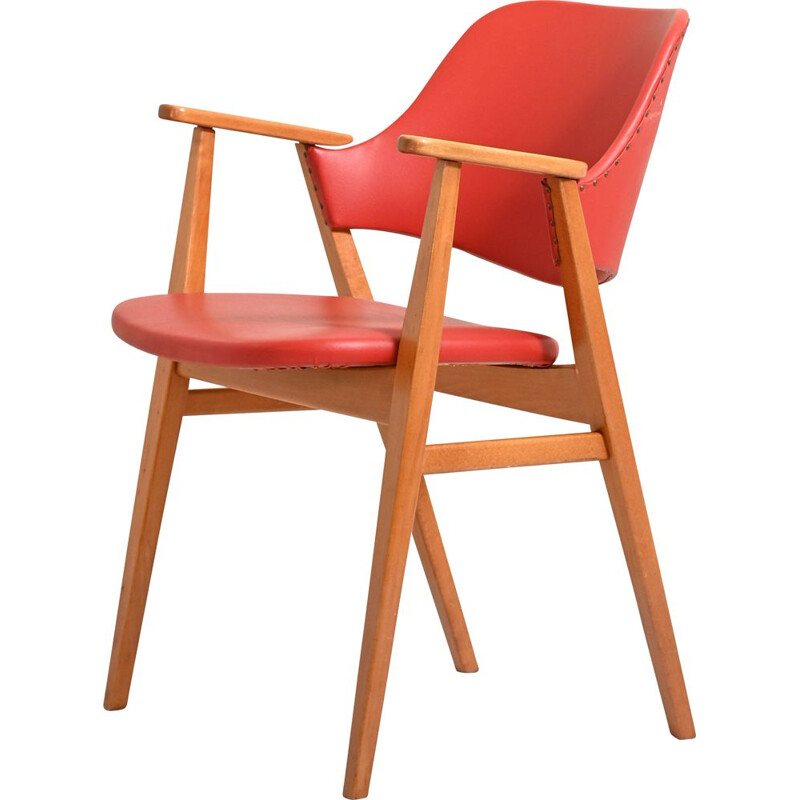 Vintage red leather and solid wood armchair