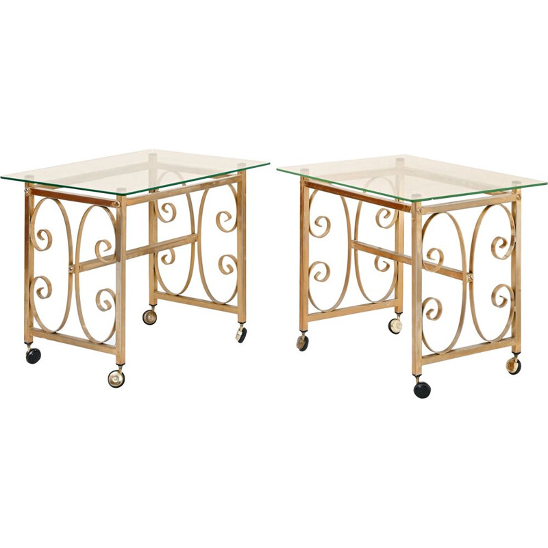 Pair of vintage side tables in gilded metal and crystal with wheels, 1970s