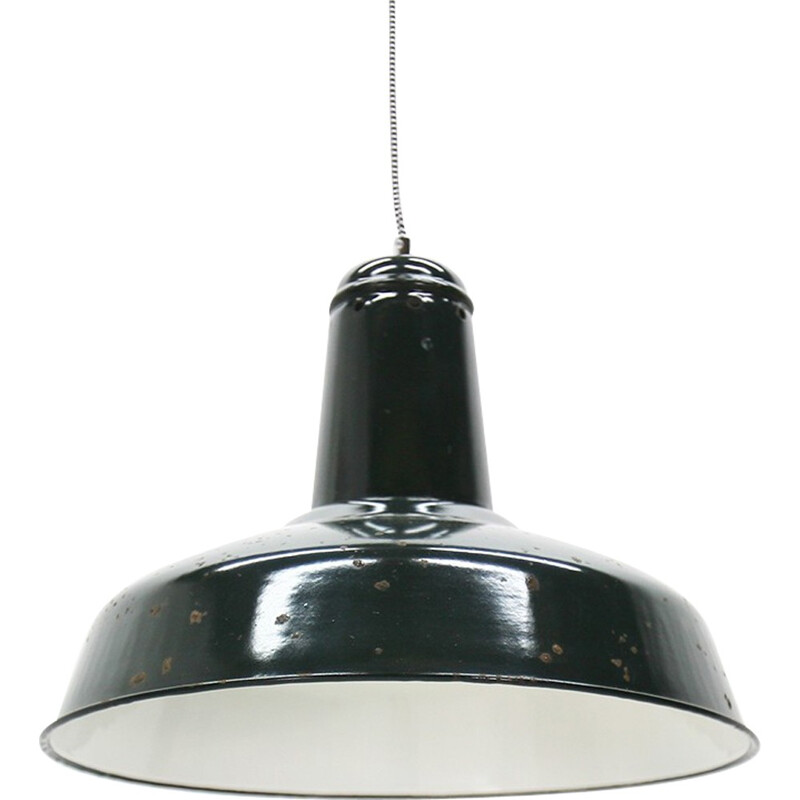 Large black industrial hanging lamp - 1930s