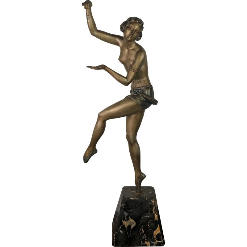Vintage statue of The Dancer in Regula on a marble base, 1920