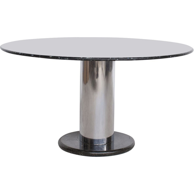 Lotorosso vintage table in black quartz marble by Ettore Sottsass for Poltronova, 1965