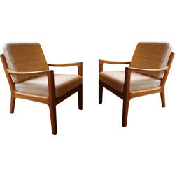 Pair of armchairs PJ Denmark in fabric, Ole WANSCHER - 1960s