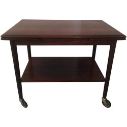 Danish side table in Rio rosewood on wheels, Ole WANSCHER - 1960s