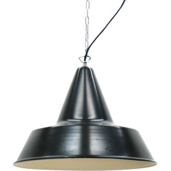 Large mid-century industrial black hanging lamp with chain - 1930s