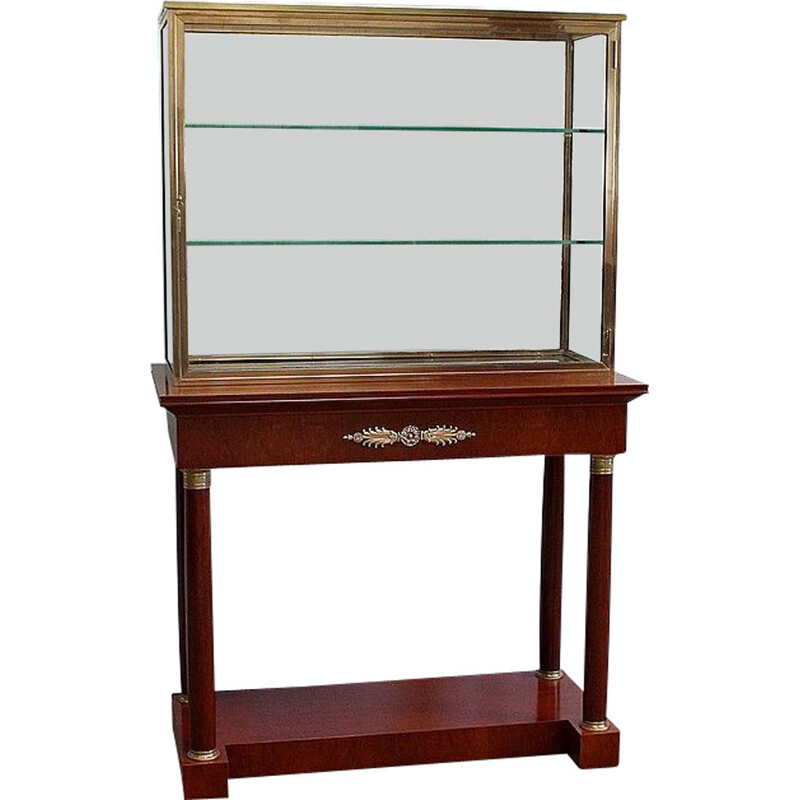 Vintage display cabinet on console