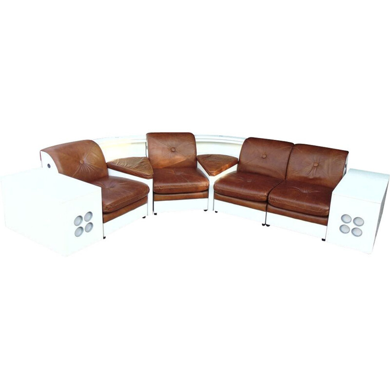 SUPER PANAMA vintage living room set in leather and laminated wood
