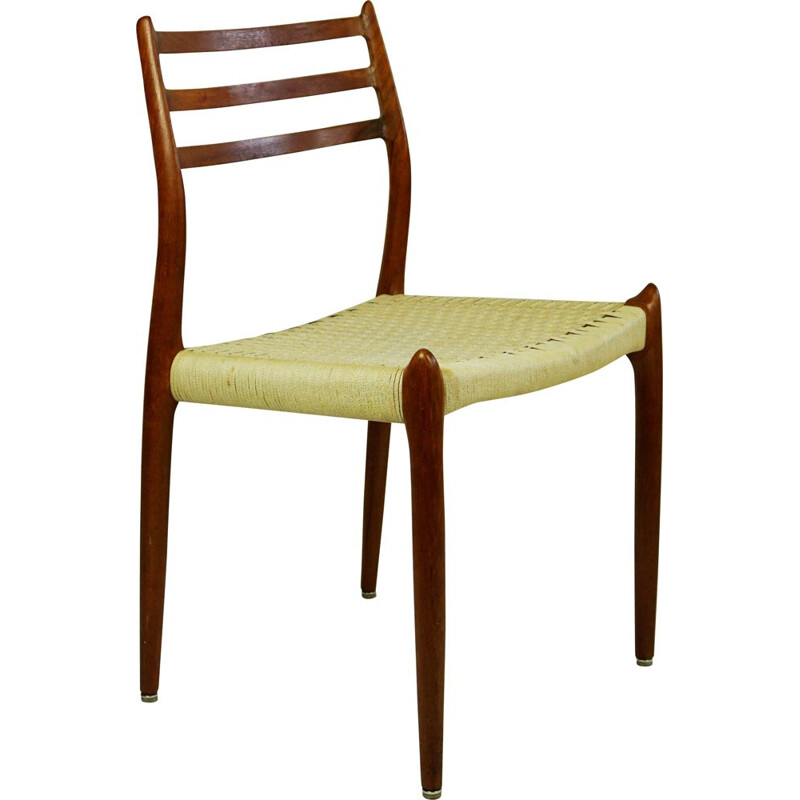 Pair of vintage Danish teak mod. 78 dining chairs by N.O. Moller, 1962