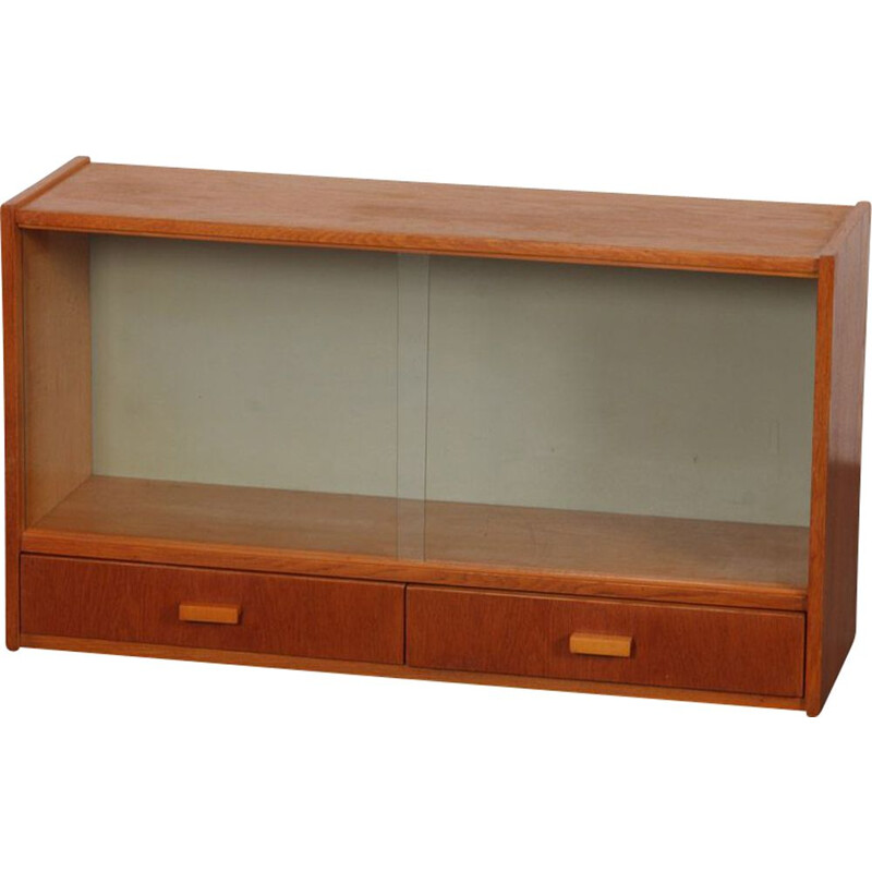 Vintage Czech wall display cabinet, 1960