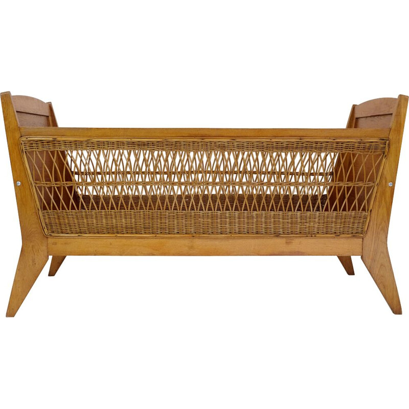Vintage children's bed or cradle with wicker decor, 1960-1970s