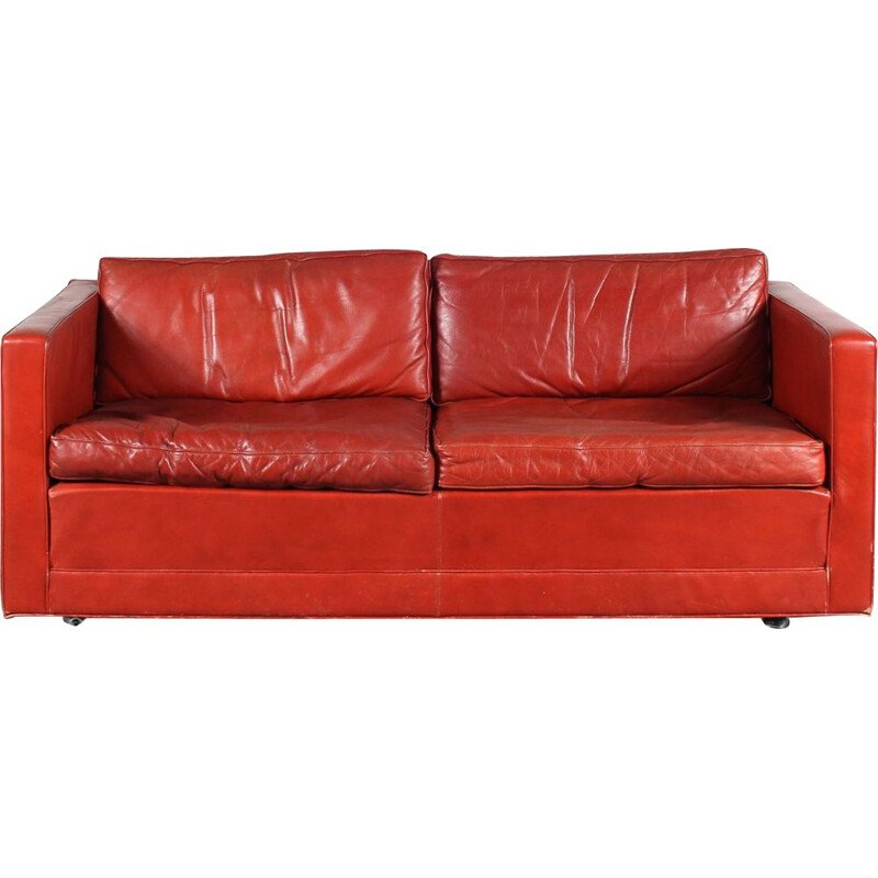 Vintage red leather sofa by Pierre Paulin for Artifort, Netherlands 1960s