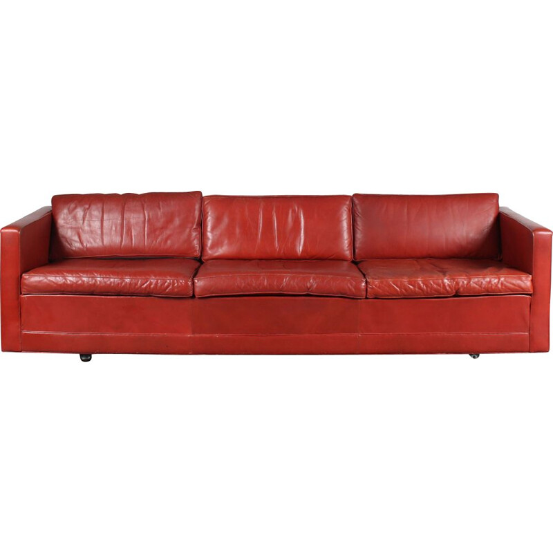 Mid century red leather 3-seater sofa by Pierre Paulin for Artifort, Netherlands 1960s