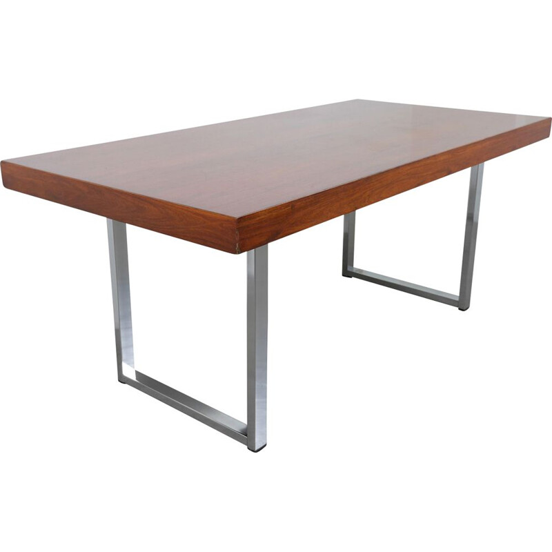 Mahogany vintage table with steel skids, Germany 1960s