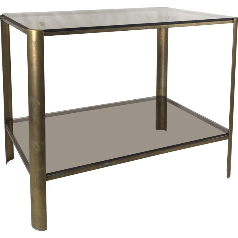 Vintage bronze and stained glass side table by Jacques Quinet for Broncz, 1960