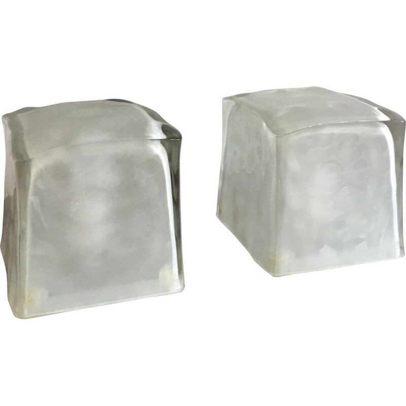 Vintage night stand lamp ice cube by Iviken, Sweden 1980s